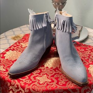 Naked Feet Blue Sued Booties